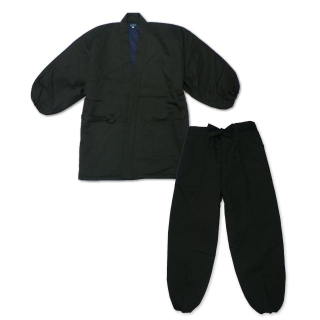 綾織キルト作務衣 2番色 黒
