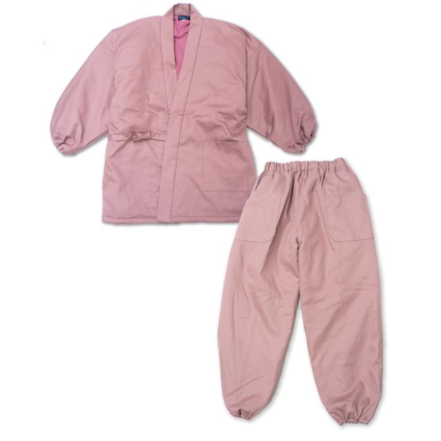 女性綾織キルト作務衣  ピンク
