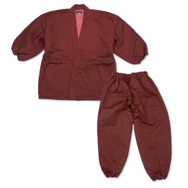 女性綾織キルト作務衣  ワイン
