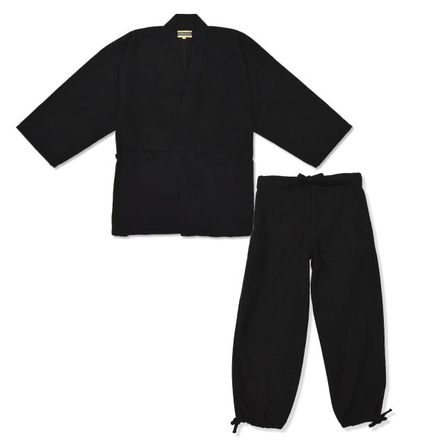 ウール作務衣 黒
