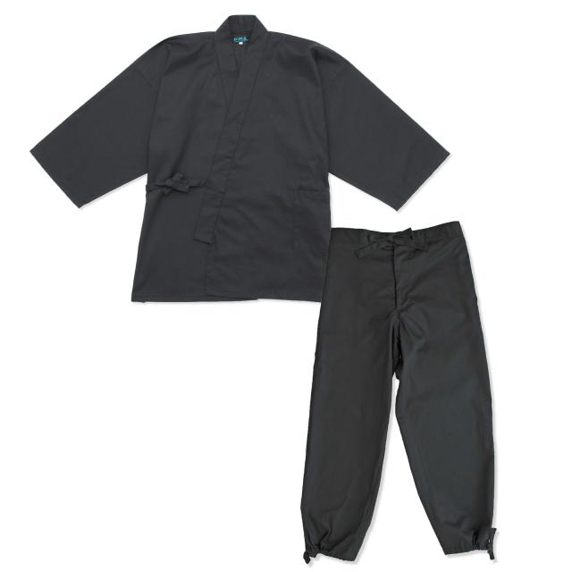 綾織作務衣 6番色黒(ブラック)