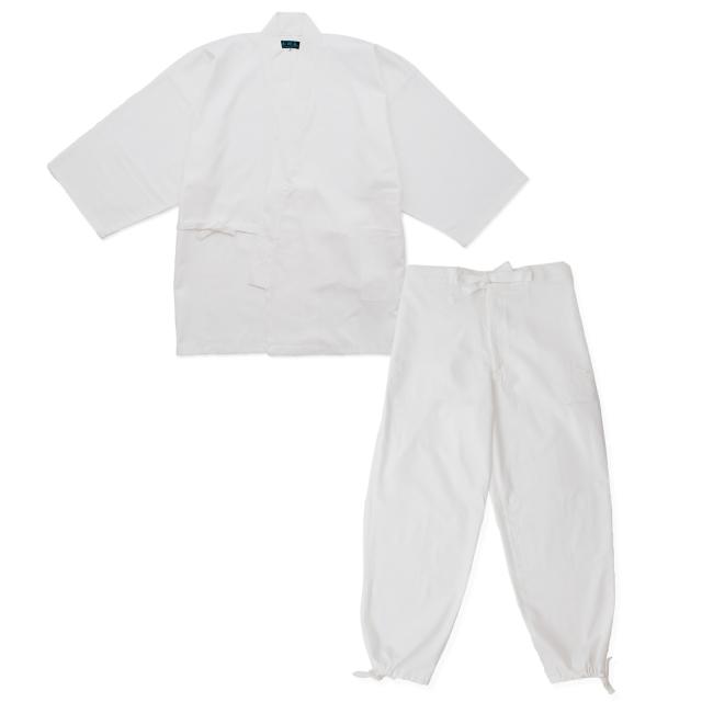 綾織作務衣 7番色白(ホワイト)