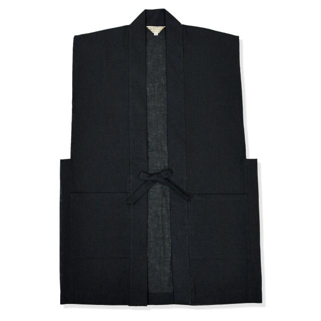 綿麻しじら羽織 No.9 黒