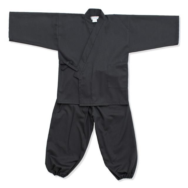 子供用綾織作務衣 6番色 黒