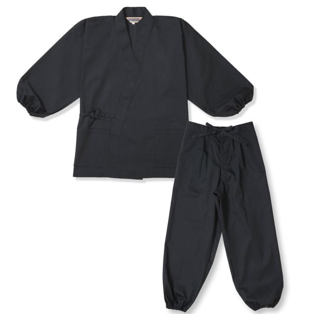 袖・裾ゴム式T/Cバーバリー織作務衣 No.2 黒