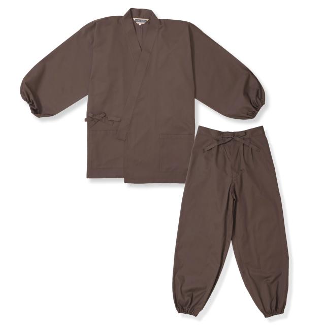 袖・裾ゴム式T/Cバーバリー織作務衣 No.3 茶