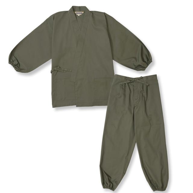 袖・裾ゴム式T/Cバーバリー織作務衣 No.4 グリーン