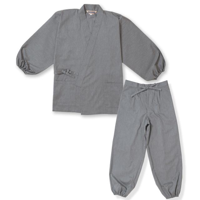 袖・裾ゴム式T/Cバーバリー織作務衣 No.5 杢グレー
