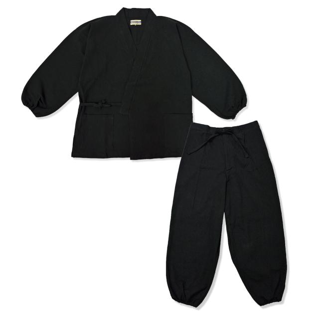 袖・裾ゴム式  綿楊柳作務衣 No.2 黒