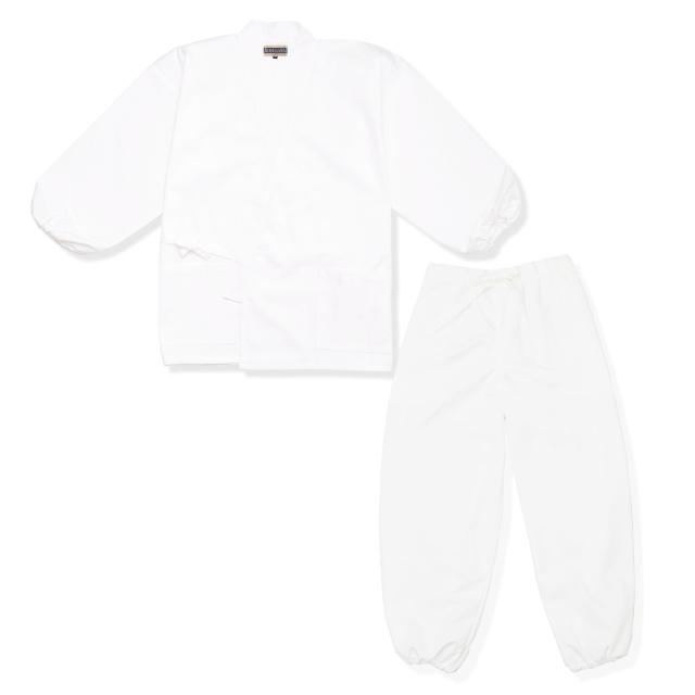 裾・袖ゴム式T/C  綿ポリ綾織作務衣 No.3 白