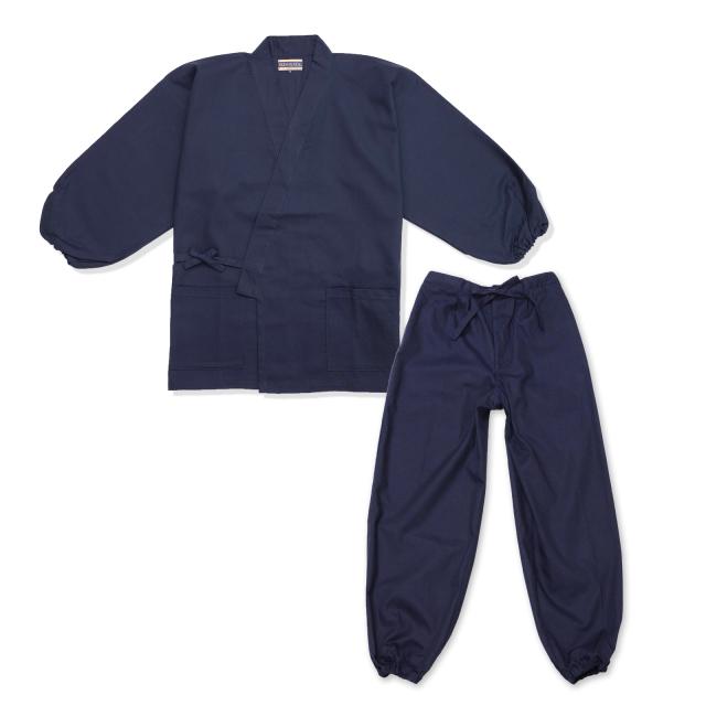 裾・袖ゴム式魚子織作務衣 No.1 濃紺