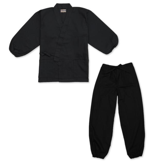 裾・袖ゴム式魚子織作務衣 No.2 黒