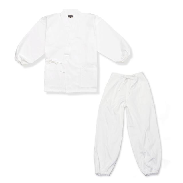 裾・袖ゴム式魚子織作務衣 No.3 白