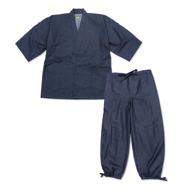 デニムロールアップ作務衣  No.1 濃紺