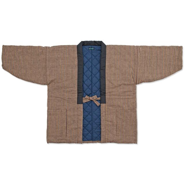 唐桟縞 綿入れ袢纏 男性用 No.2 茶