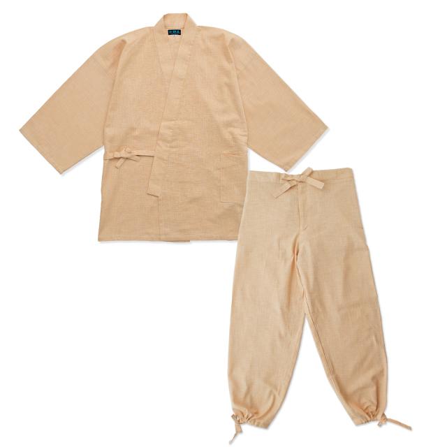 絣紬作務衣 1番色 ベージュ