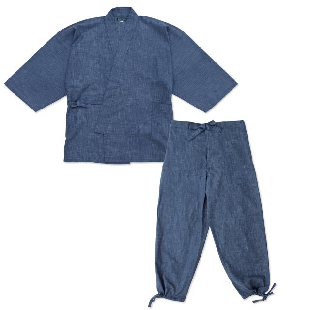 絣紬作務衣 10番色 濃紺