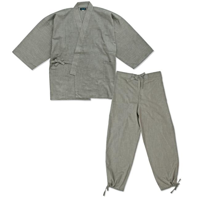 絣紬作務衣 11番色 グレー
