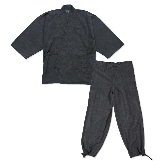 絣紬作務衣 12番色 黒