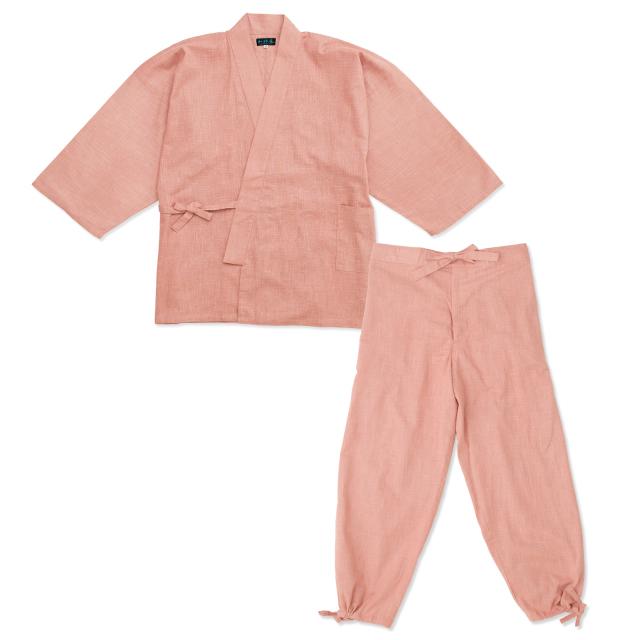 絣紬作務衣 13番色 ピンク