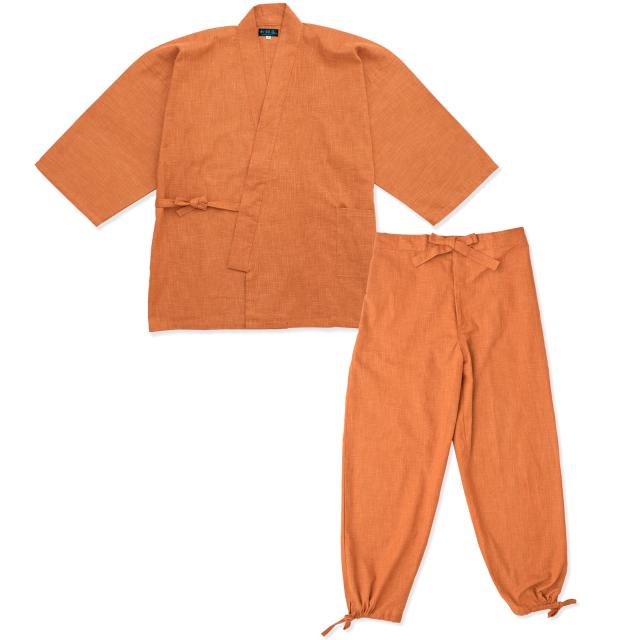 絣紬作務衣 16番色 オレンジ