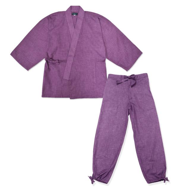 絣紬作務衣 17番色 古代紫
