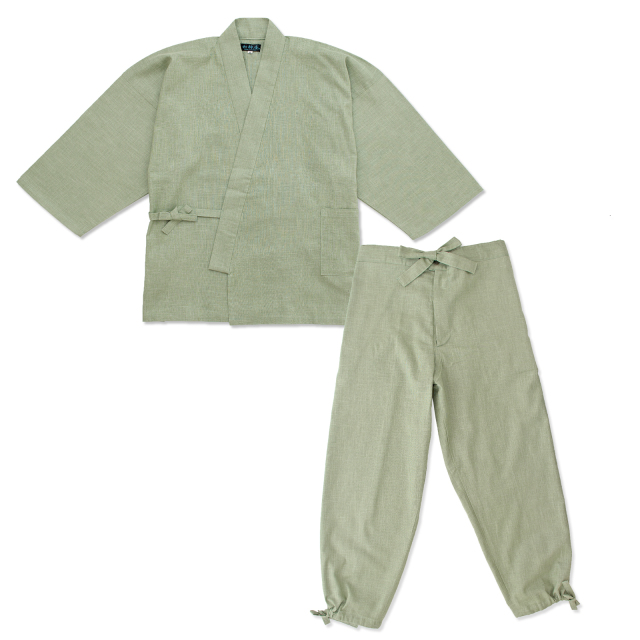 絣紬作務衣 7番色 浅緑