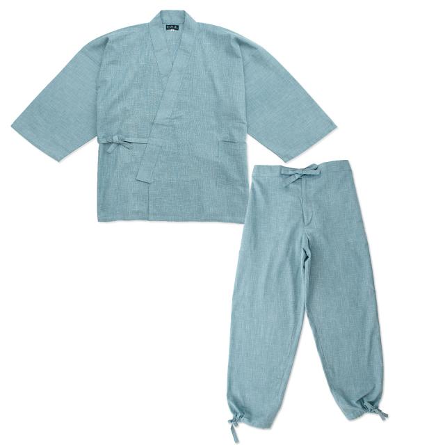絣紬作務衣 8番色 水色