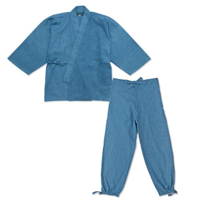絣紬作務衣 9番色 明紺