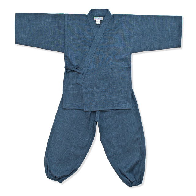 子供用絣紬作務衣 10番色 濃紺