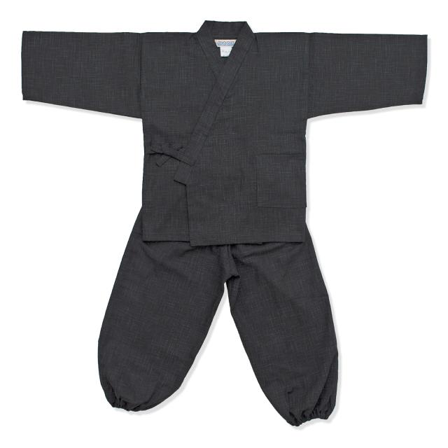 子供用絣紬作務衣 12番色 黒