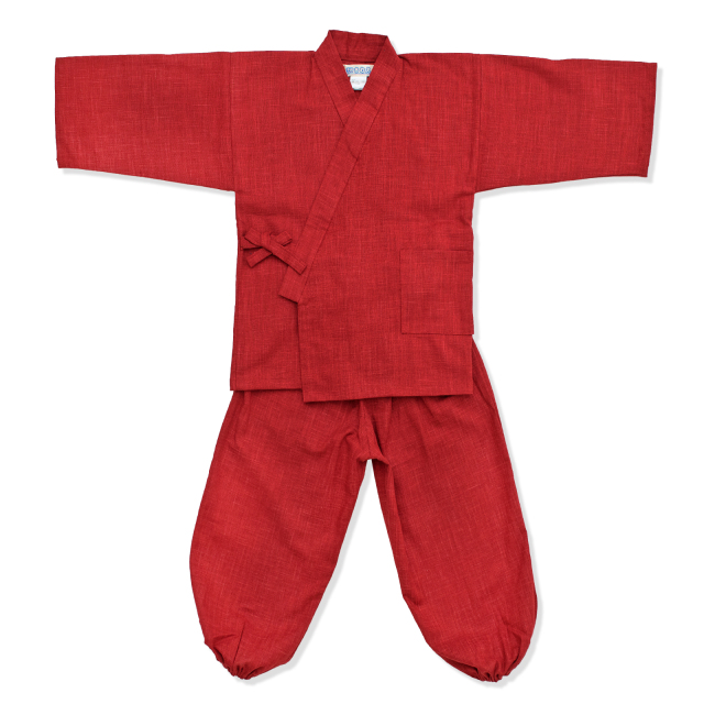 子供用絣紬作務衣 15番色 エンジ