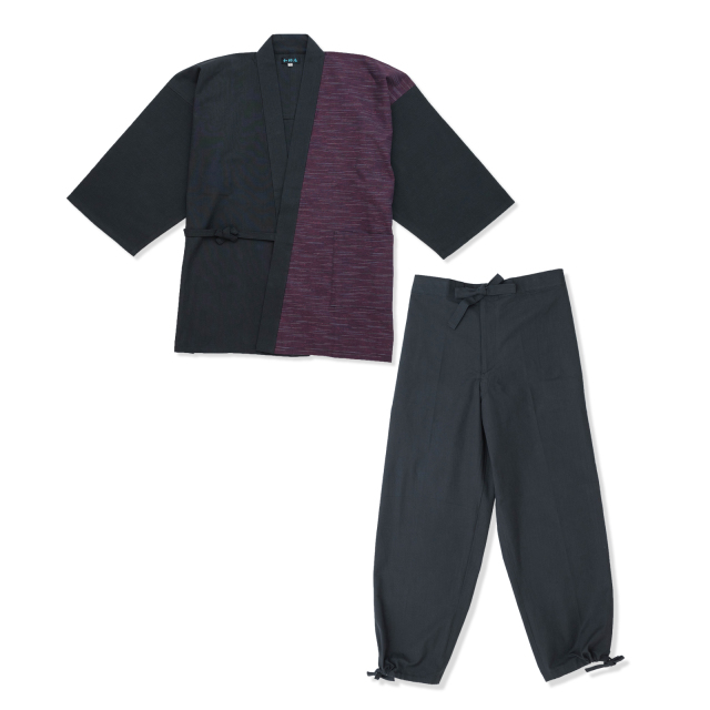 よこ絣デザイン作務衣 1番色 紫