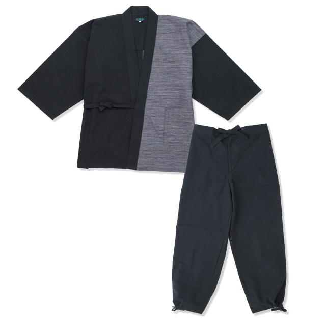 よこ絣デザイン作務衣 2番色 黒