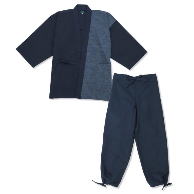 よこ絣デザイン作務衣 3番色 紺