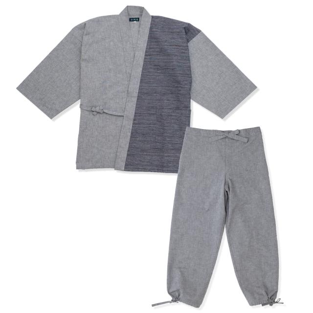 よこ絣デザイン作務衣 4番色 グレー