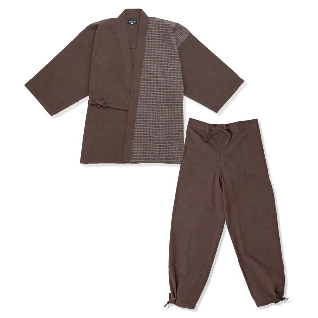 よこ絣デザイン作務衣 5番色 茶