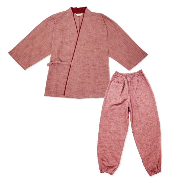 女性用パンツルック作務衣 No.221 ピンク
