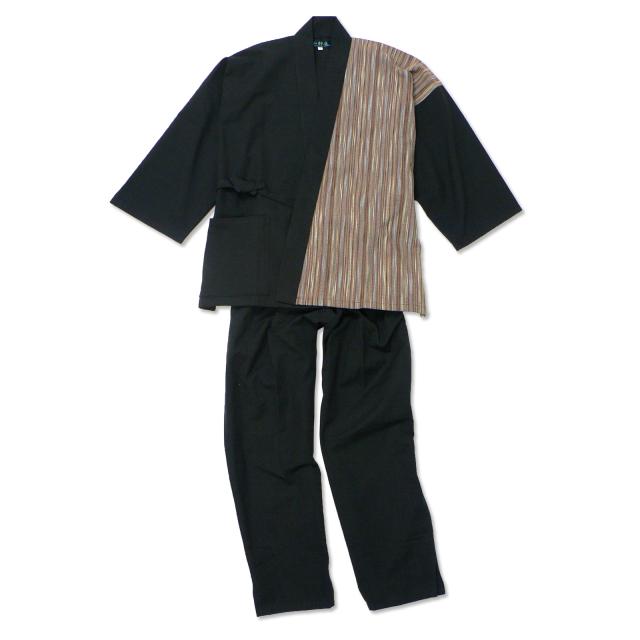 女性たて絣 デザイン作務衣 モカ(茶/ブラウン)