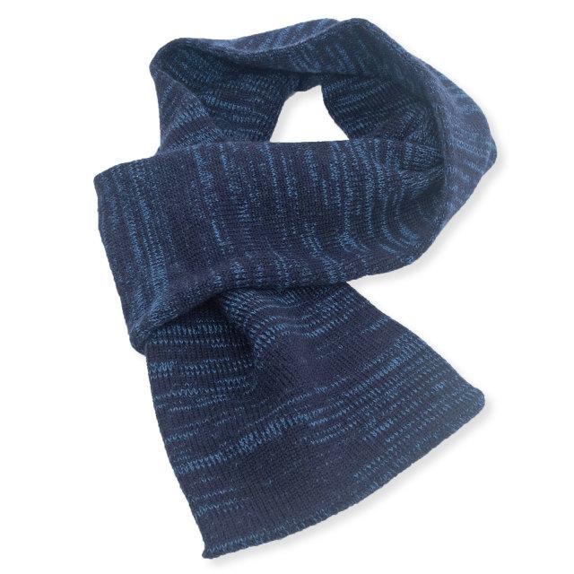 ウール差し込みマフラー絣 No.1 紺