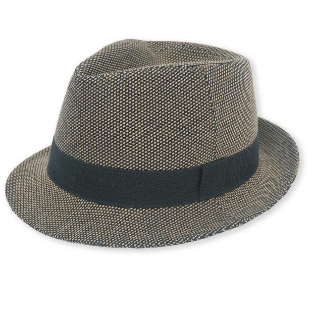 刺子織中折れ帽子 No.2 茶