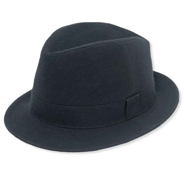 刺子織中折れ帽子 No.3 黒