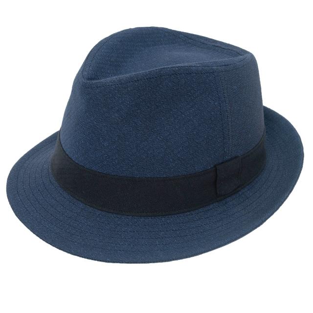 和紙しじら織中折れ帽子 No.1 紺