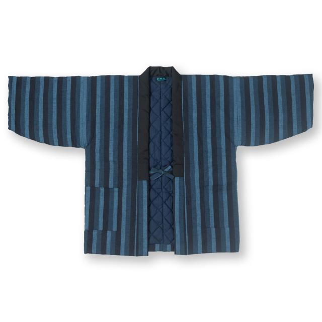 唐桟縞 綿入れ袢纏 男性用 No.3 鰹縞紺