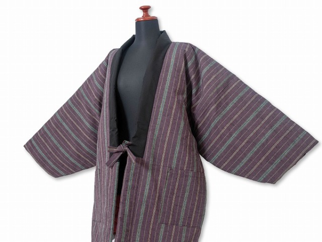 唐桟縞 綿入れ袢纏 女性用 No.4 紫