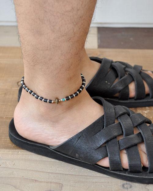 39 (SunKu/サンク) Antiqeu Beads & Silver Beads Anklet / アンクレット