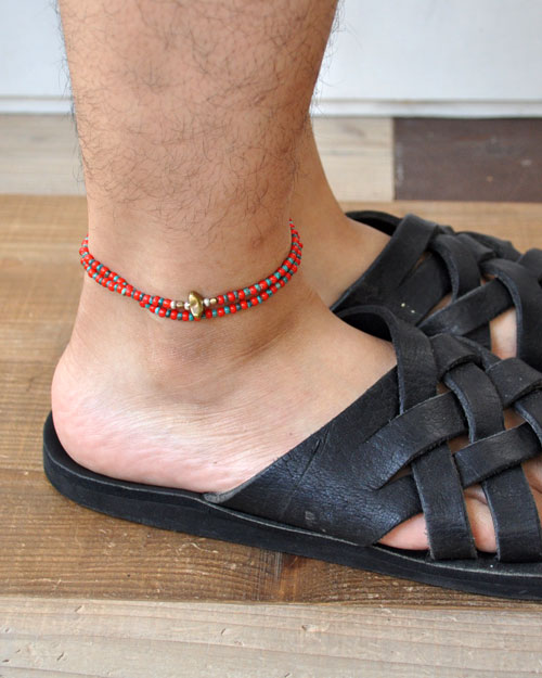 39 (SunKu/サンク) White Heart &Turquise Beads Anklet & Necklace / アンクレット&ネックレス