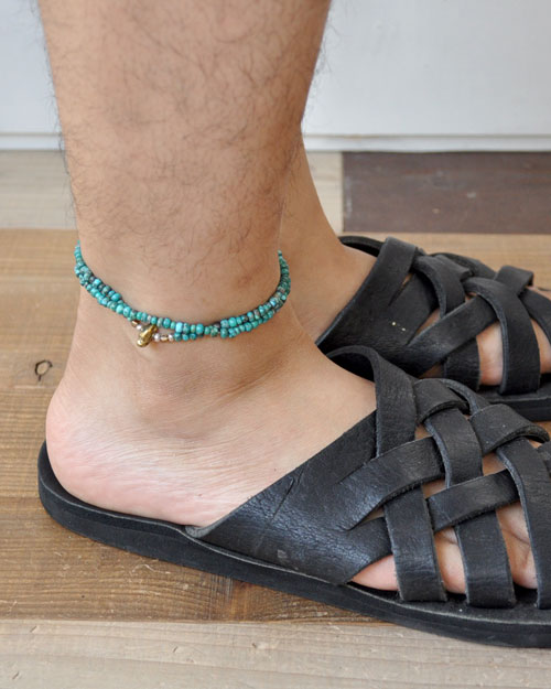 39 (SunKu/サンク) Turquise Beads Anklet & Necklace / アンクレット&ネックレス