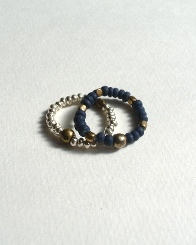 39 [SunKu] サンク Natural Indigo Dye & Silver Beads Ring