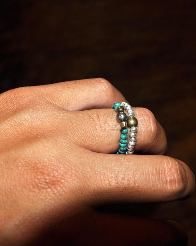 39 [SunKu] サンク Turquise & Silver Beads Ring